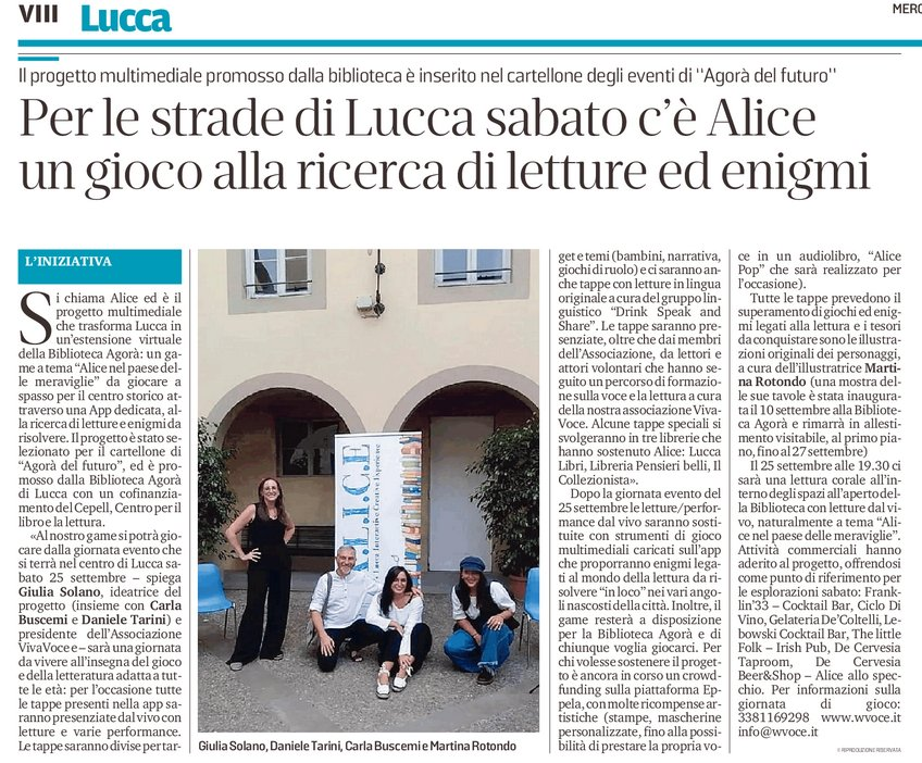 Per le strade di Lucca sabato c'è Alice