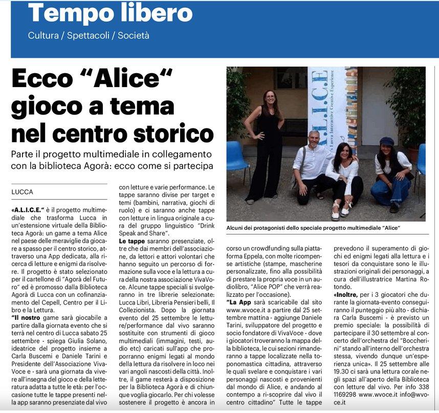 """Ecco """"Alice"""" gioco a tema nel centro storico"""